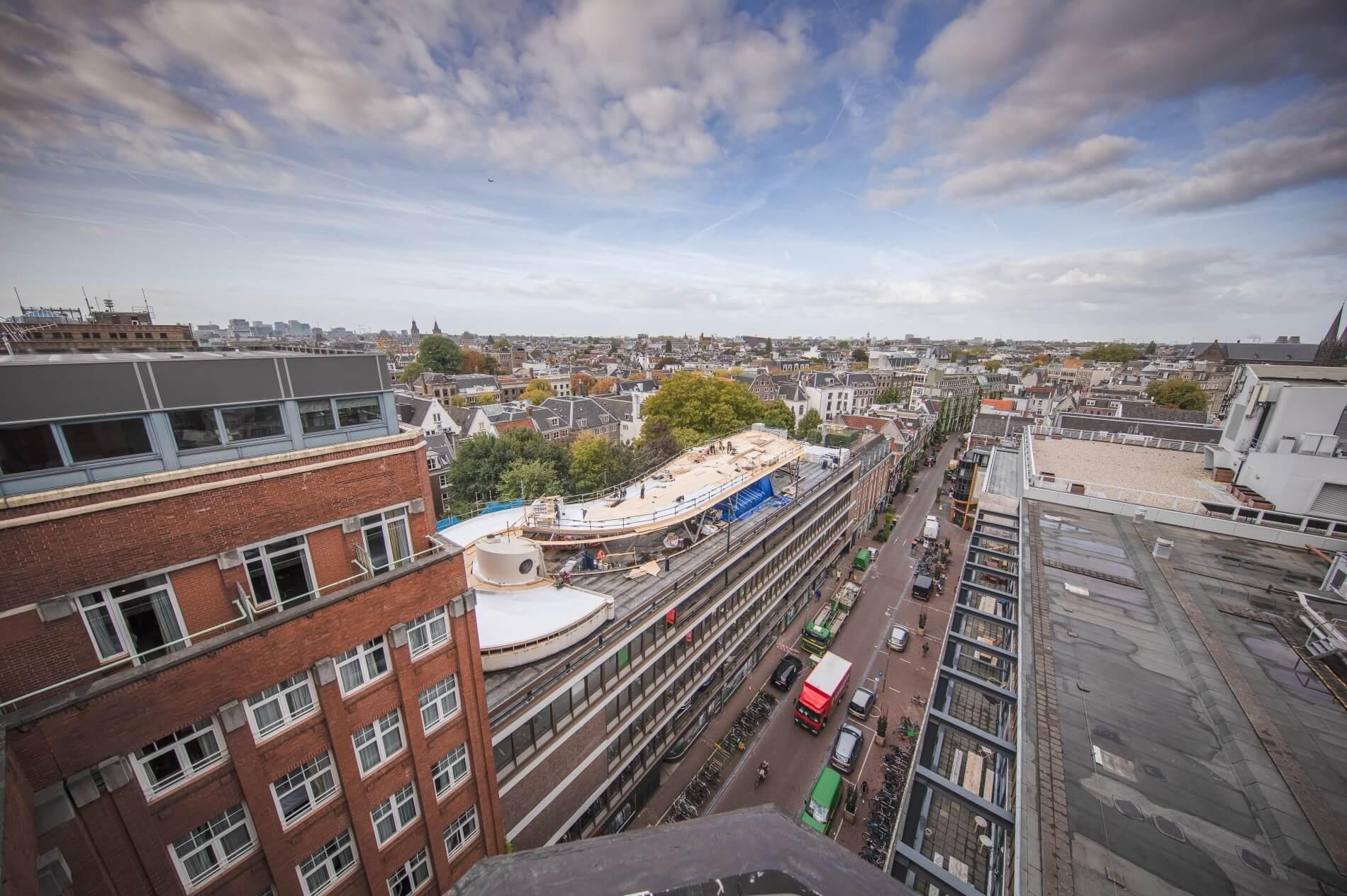 Verbouwing Munthof Amsterdam van bovenaf