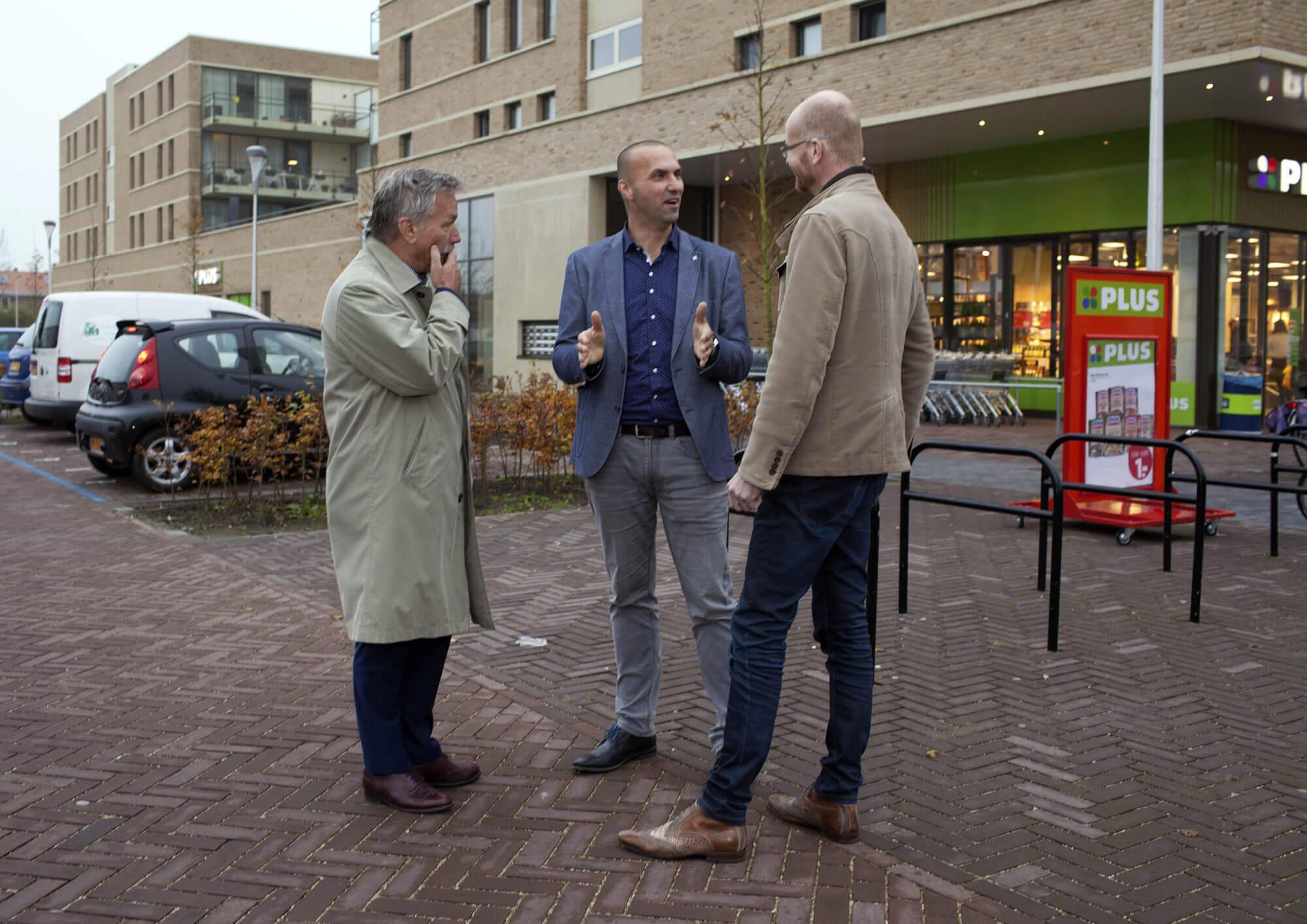 Dick de Bruin, Jurgen van der Bas en John Bos in gesprek over Schoonhoven Noord