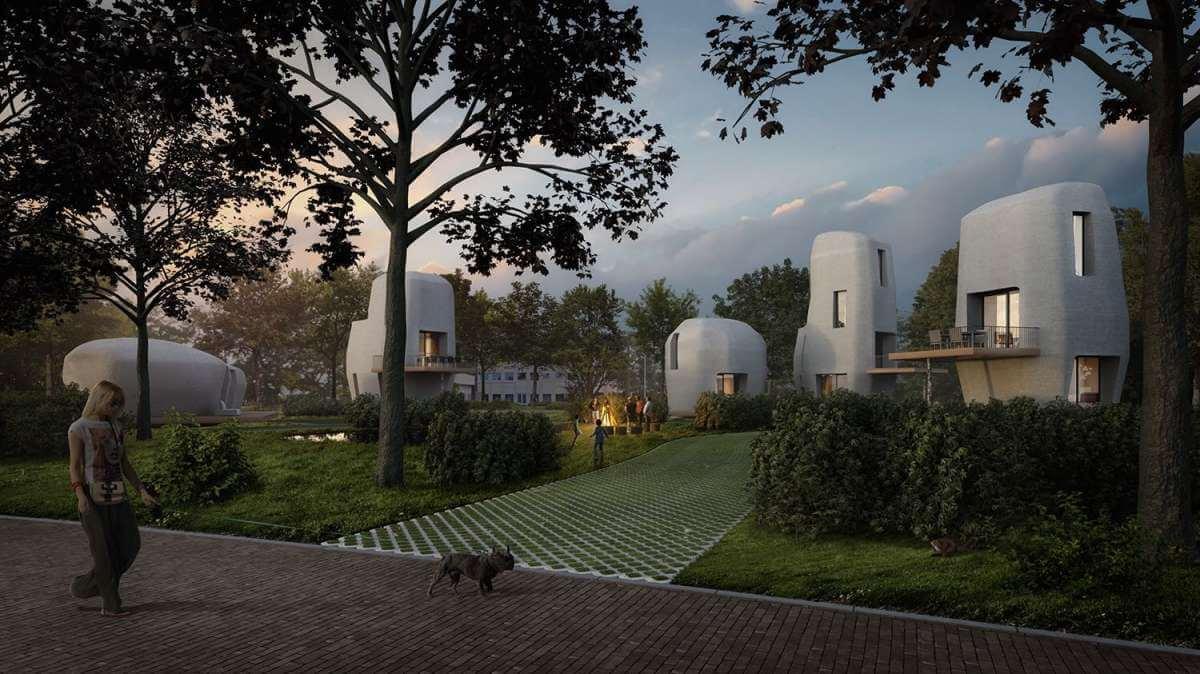 Artist Impression eerste 3D-geprinte woningen van beton